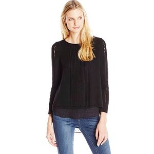 Lucky Brand Long Sleeve Layered Split Back Sweater